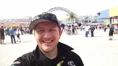 Russell Aaron in the Neon Garage wearing Kyle Busch