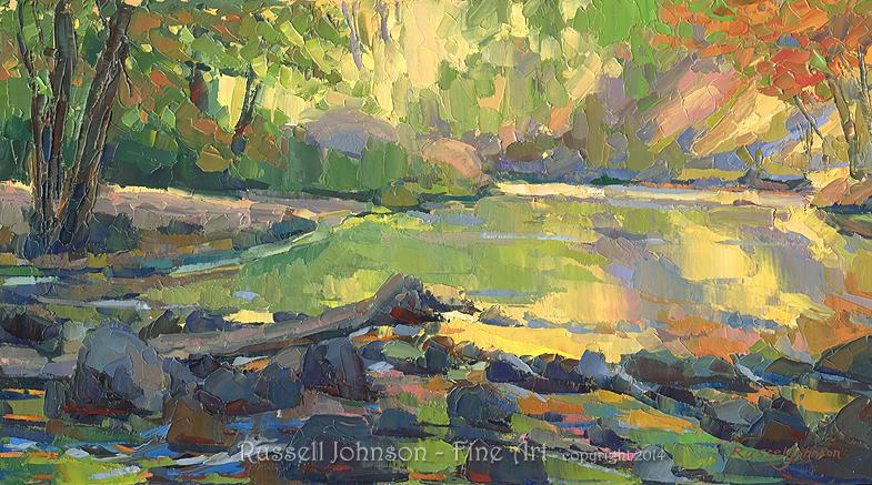 Reflection Pool, Oak Creek, Russell Johnson Prescott Landscape Painter