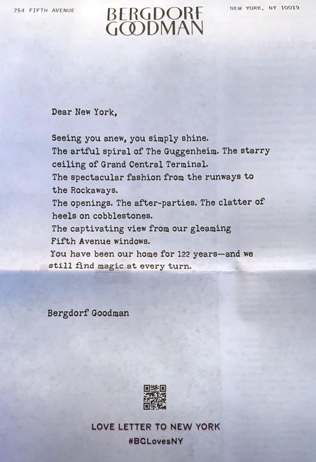 Bergdorf goodman letter