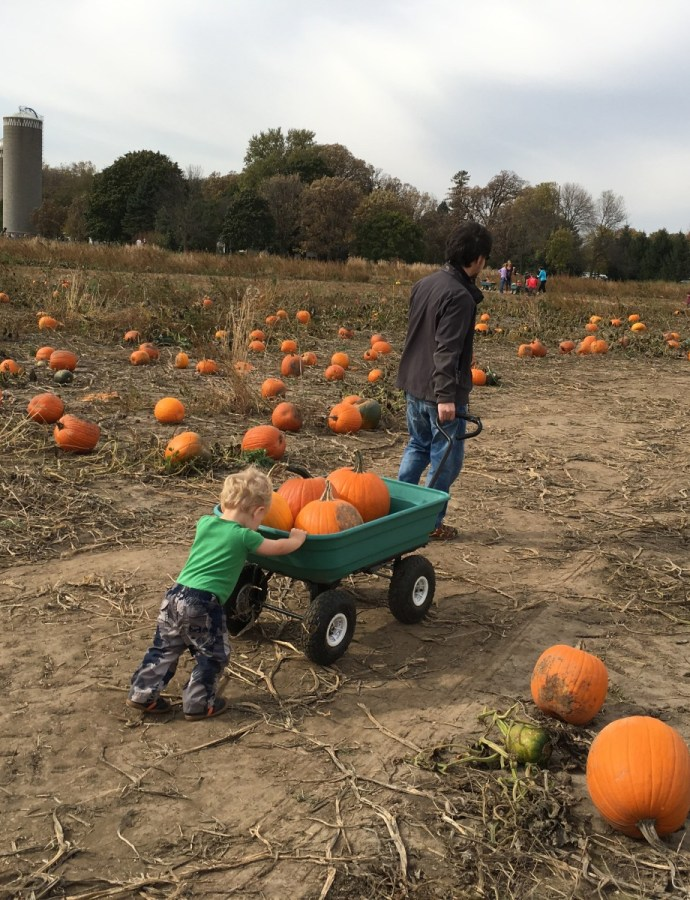 Spending time as a family at Farmer John's Pumpkin