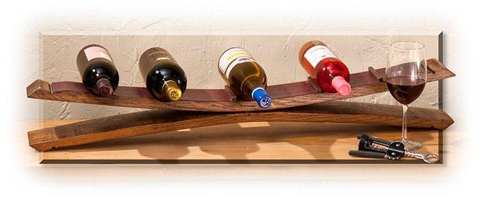 wine barrel stave wine bottle holder