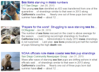 "Sea lions dying in record numbers - snip from Google News search on term ""mass death sea lions"" - click to enlaarge"
