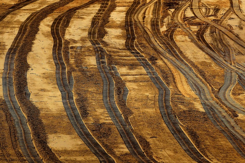 Track marks from earthmoving machinery is seen on Coogee Beach in Sydney, AustraliaBrendon Thorne/ Getty Images