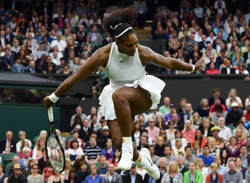 Serena Williams competes against Christina McHale in their second round match during the Wimbledon Championships at the All England Lawn Tennis Club, in London on July 1.