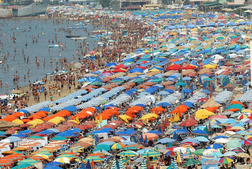 A crowded beach in Durres, on the Albanian Adriatic