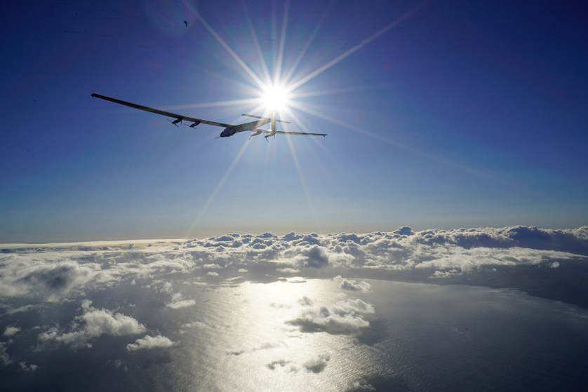 21 April 2016: The solar-powered plane piloted by Bertrand Piccard is seen in the air after successfully taking off from Kalaeloa Airport in O'ahu, Hawaii, en route to San Francisco