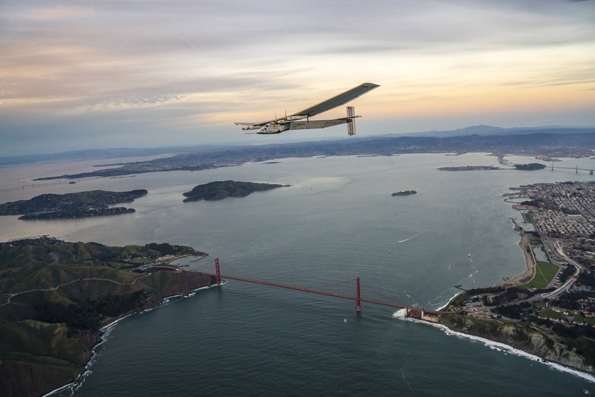 23 April 2016: Solar Impulse 2, piloted by Bertrand Piccard, flies over the Golden Gate bridge in San Francisco after a 62-hour flight from Hawaii