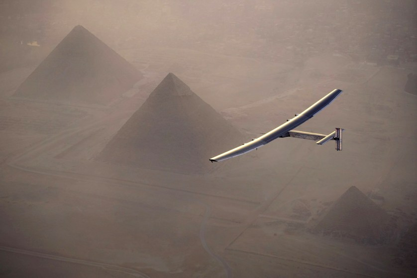 13 July 2016: Solar Impulse 2 flies over the pyramids of Giza prior to landing in Cairo, Egypt