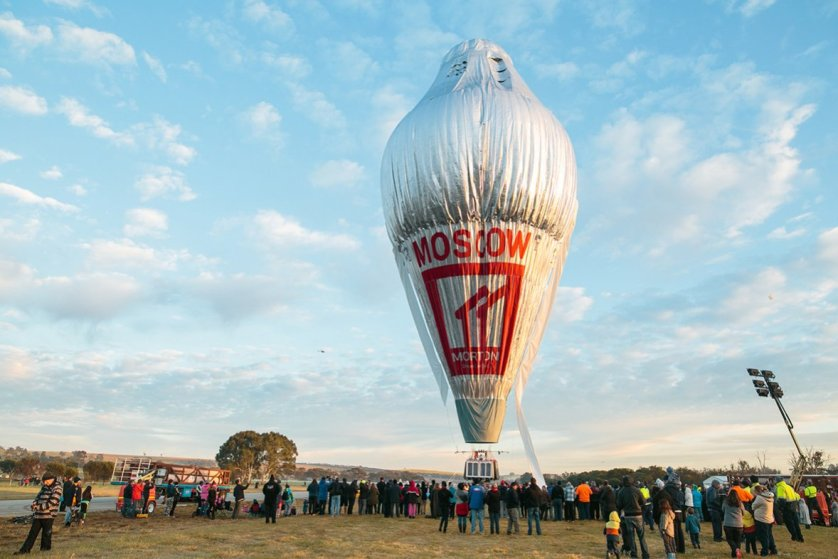 The balloon of Russian adventurer Fedor Konyukhov is surrounded by onlookers