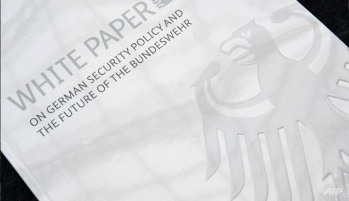 The so-called White Paper report is pictured ahead of a press conference to present the new military roadmap, in Berlin, on Jul 13, 2016.