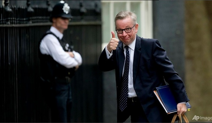 British Secretary of State for Justice and leadership candidate for Britain's ruling Conservative Party, Michael Gove, gives a thumbs-up at photographers as he arrives for a cabinet meeting at 10 Downing Street, in London on Jul 5, 2016.