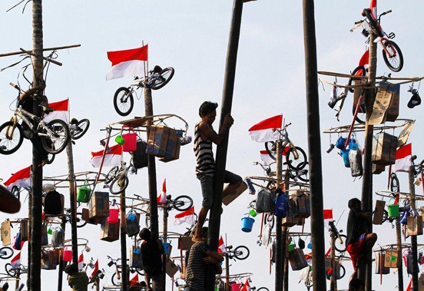 Участники игры Panjat Pinang, которая устраивается на День независимости Индонезии.