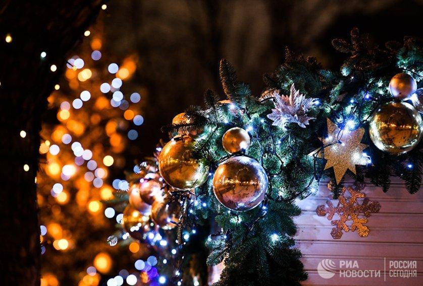 Новогодняя иллюминация на Тверском бульваре.