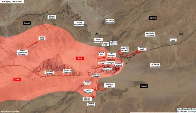 Направления атак сирийской армии под Пальмирой 13 марта