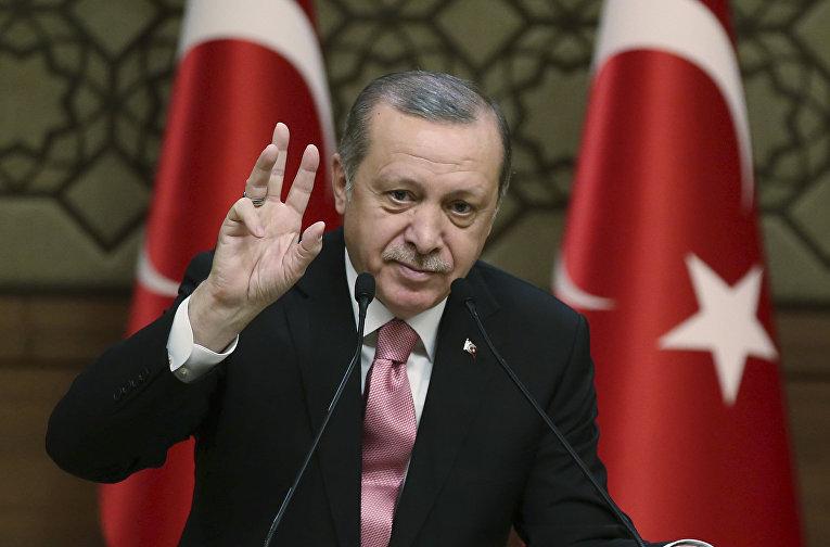 8 февраля 2017. Президент Турции Турции Реджеп Тайип Эрдоган выступает в Анкаре, Турция.