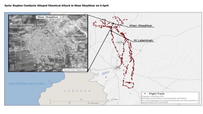 Данные Пентагона о маршруте самолета правительственной армии, точке удара в Хан-Шейхуне и расположении подземной больницы. Фото: bbc.co.uk.