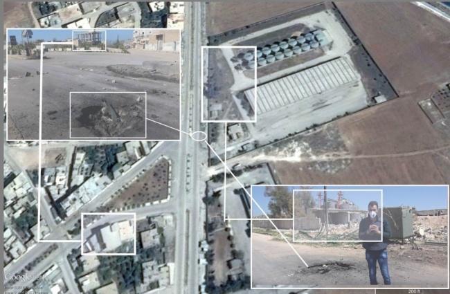 Авиаудар отравляющими веществами произошел по перекрестку в самом Хан-Шейхуне. Фото: bellingcat.com.
