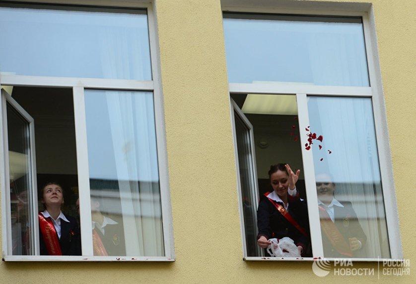 Выпускницы в пансионе воспитанниц Минобороны России в Москве.