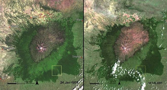 Эти снимки показывают, как обеднел лес Маунт-Кения в Кении с 1976 по 2007 годы. © NASA