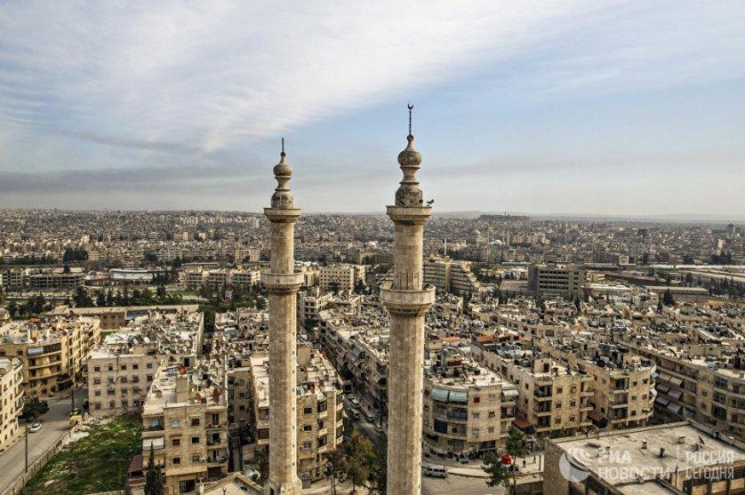 Вид на сирийский город Алеппо. Сирия, 18.02.2016.