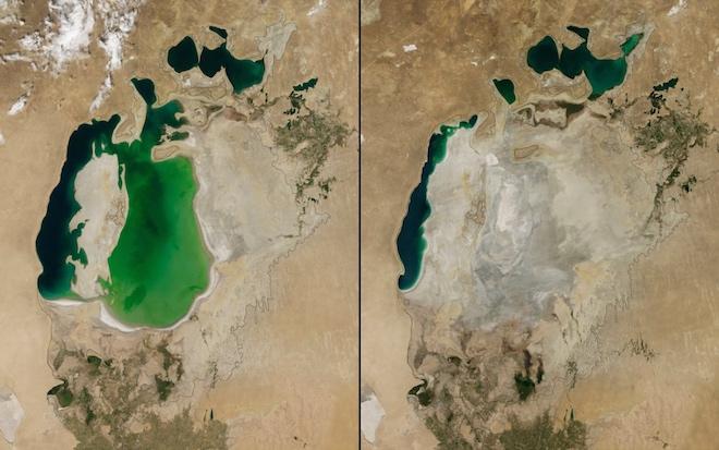 Аральское море в Центральной Азии значительно сократилось с 2000 по 2014 годы. © NASA