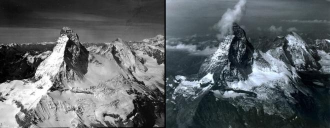 А это снег, который оставался на горе Маттерхорн в Швейцарии в августе 1960 года. Для сравнения — то же место в августе 2005 года. © NASA