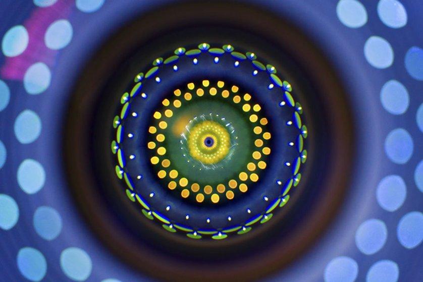 """Снимок """"Объектив камеры"""" фотографа Ричарда Бича. На фото - крупный план зум-объектива Кэнон 24-105 мм f/4 для цифровой зеркальной камеры. Источник света, установленный за макро-объективом, позволил осветить различные слои и цвета, а остальная структура была получена благодаря дифракции."""