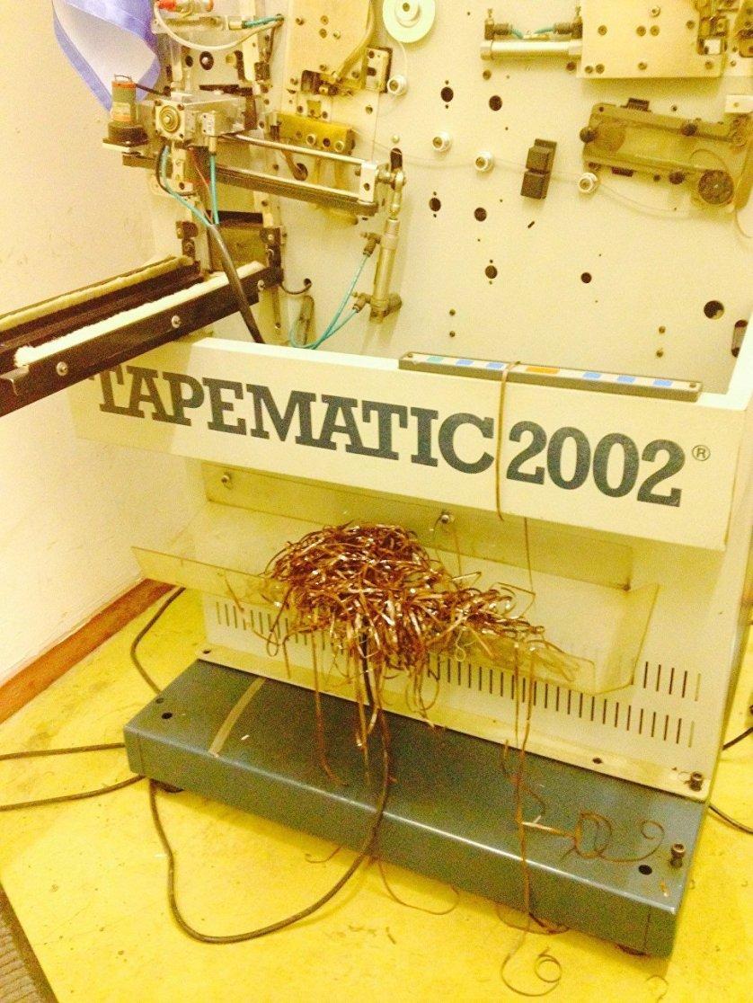 """Оборудование для намотки пленки. Станок был установлен на заводе """"Славич"""" в 1993 году на российско-итальянской автоматической линии по производству аудиокассет."""
