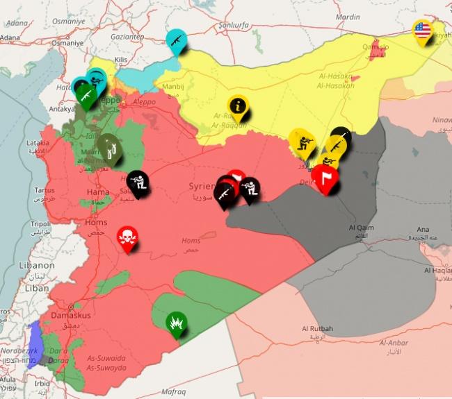 Провинция Идлиб (выделена зеленым цветом в верхней части Сирии) является оплотом джихадистов и перемирие там будет контролировать Турция. Фото: syriancivilwarmap.com.