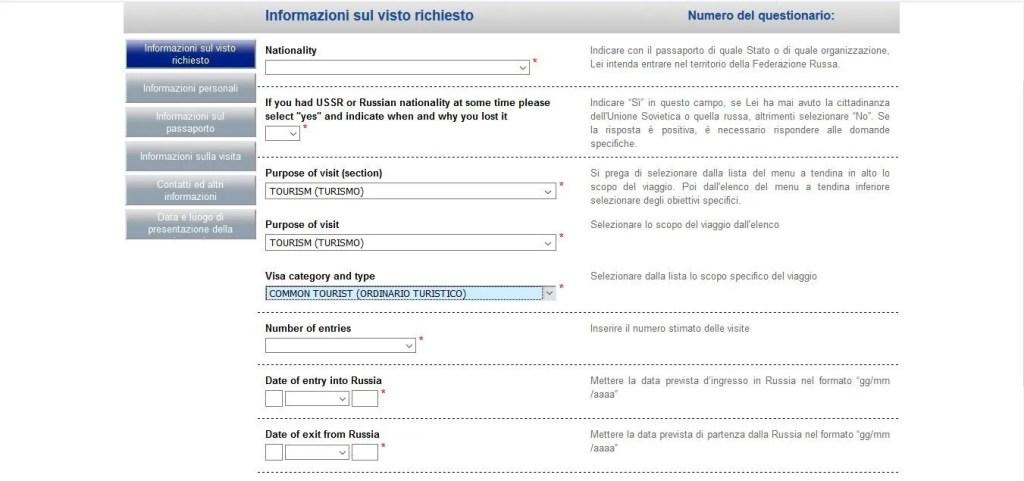 Compila il modulo di richiesta visto per la Russia.