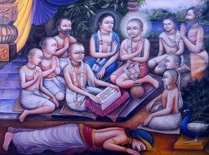 Шри Чайтанья слушает «Бхагавату» от Гададхара Пандита