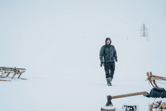 Russian Arctic Travel founder Aleksei in the snow outside the Nenets homestay