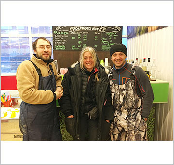 The author, Tina Uebel, along with Russian Arctic Travel's founder Aleksei, and our local guide, Tony