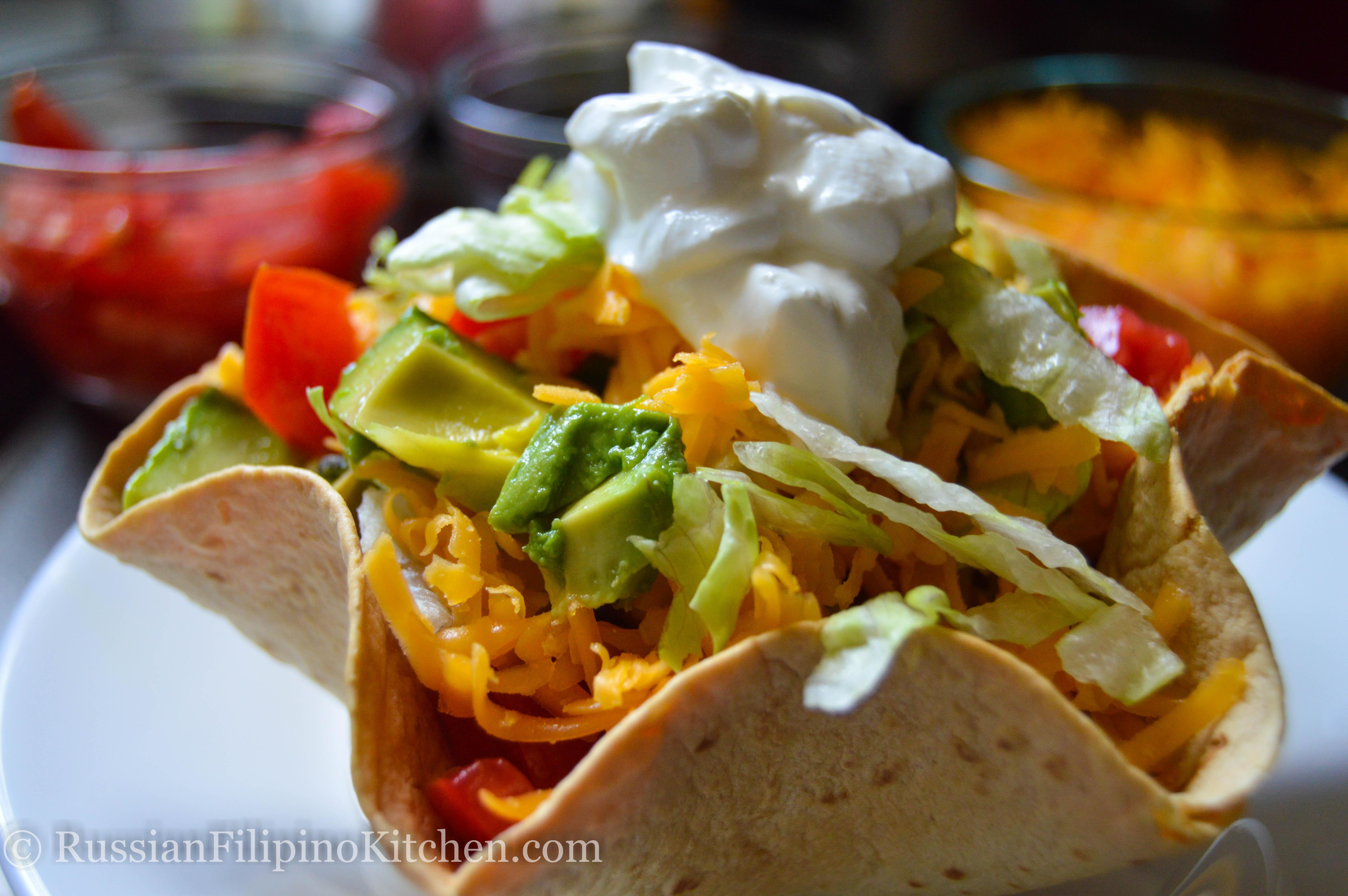 Taco Salad In Tortilla Bowl Russian Filipino Kitchen