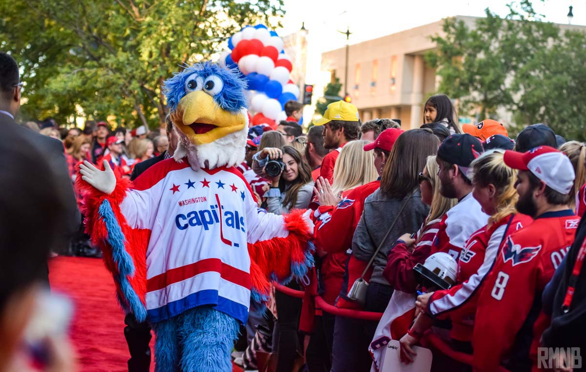 One of the Caps mascot walks by.