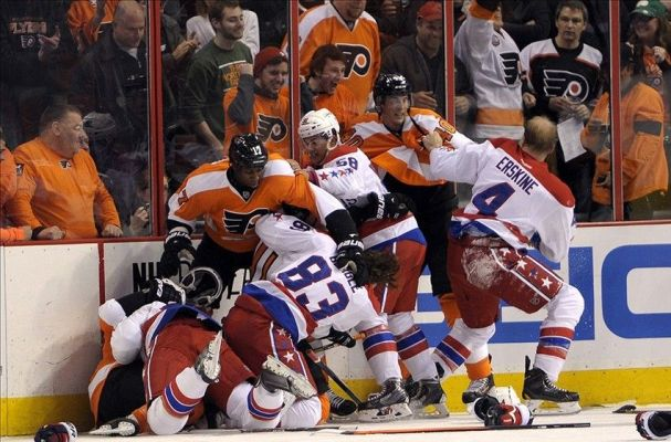 This is literally every picture of the Caps and Flyers