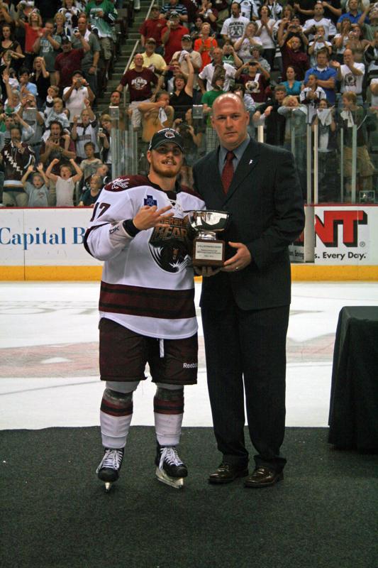 Chris Bourque Accepts the MVP Award.