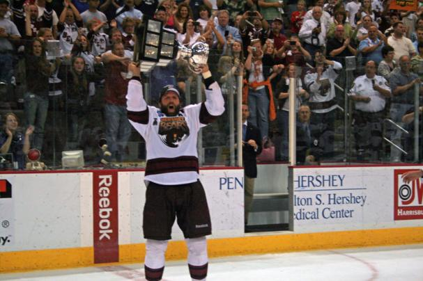 Bryan Helmer raises the 2010 Calder Cup!