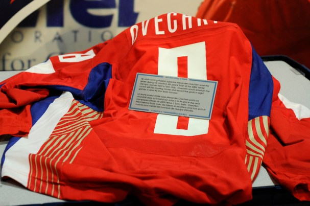 Alex Ovechkin's Russian Hockey Jersey he wore in the Turin Olympics.