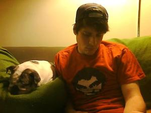 Grumpy writer, grumpy bulldog, formerly lucky t-shirt.