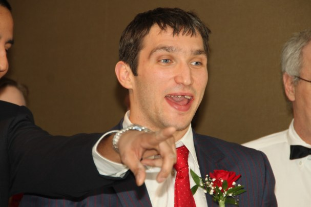 Ovi smiles while playing Wii Bowling at Caps Care Casino Night