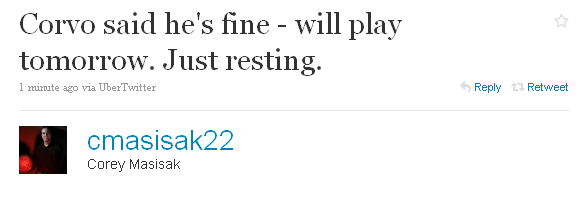 Twitter - Corey Masisak- Corvo said he's fine - wil ..._1271780274609
