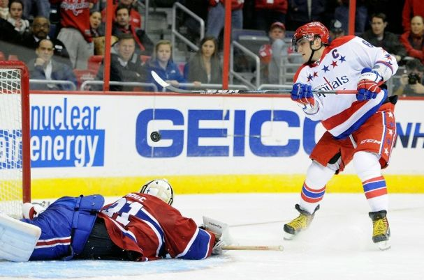 Alex Ovechkin tries to score on Carey Price