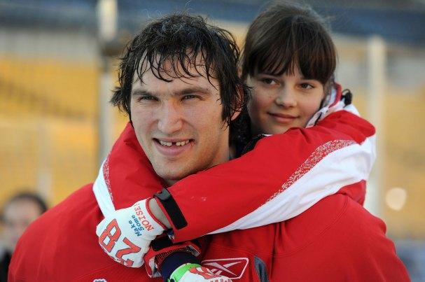 Alex Ovechkin holds Alex Semin's Niece