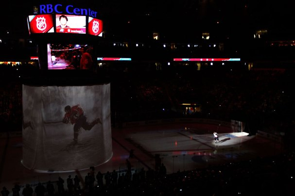 Alex Ovechkin is introduced to the crowd.