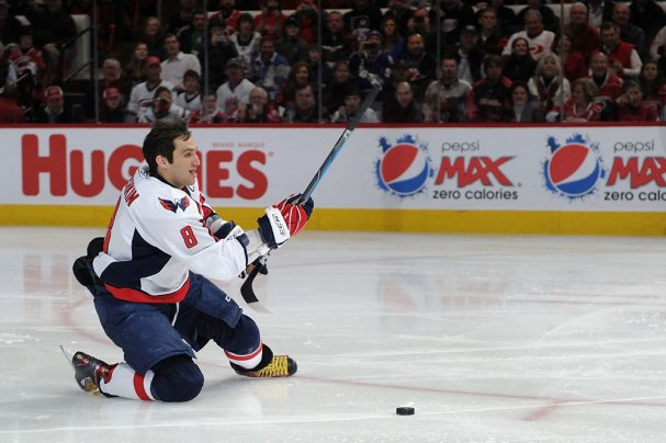 Alex Ovechkin on his knees during the Breakaway Challenge