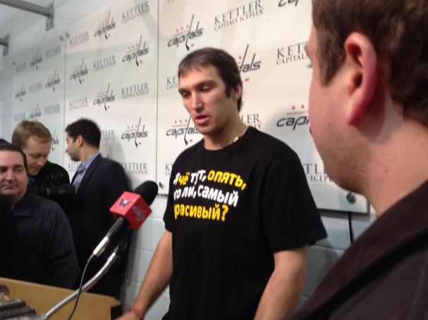 Ovechkin speaks to the media