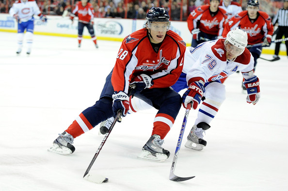 Alex Semin Goes Strong to the Net Against the Montreal Canadiens.