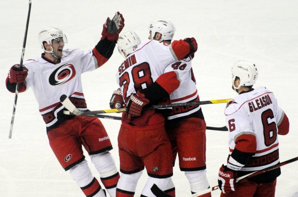 Alex Semin celebrates his first goal with the Carolina Hurricanes