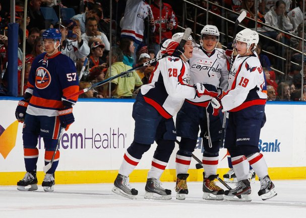 Alex Semin scores the Game Winning Goal against the Islanders and celebrates with Backstrom and Ovechkin